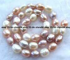 7x9mm Pink Purple White Freshwater Pearl Freeform oval beads 14""