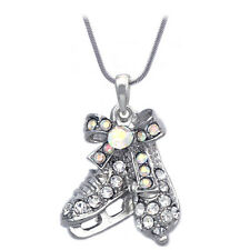 Aurora Borealis Ice Figure Skating Shoes Skates Pendant Necklace Gift for Skater