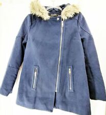 Coffeeshop Navy Faux Fur Lined Hooded Coat / Size XS