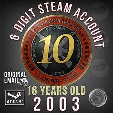 Steam Account (6 Digit, 2003, 16 Years)   CS:GO 10 YEAR COIN + 5 YEAR COIN (+OE)