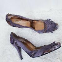 Kuba Kouture Italy Suede Court Shoes EUR 41 UK 7 Purple Heel Fringe Snake Skin