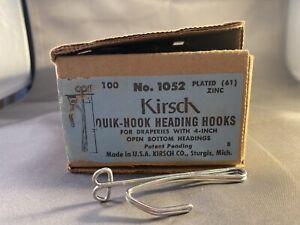 "Kirsch 1052 Quick Hook Heading Drapery Curtain Hooks Pin Box 100 For 4"" Pickets"