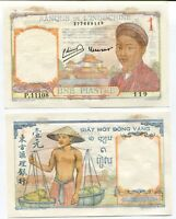 FRENCH INDO CHINA 1 PIASTRE P 54 e AUNC YELLOW TONE