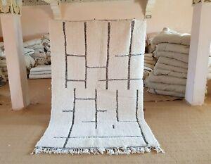 """Moroccan rug Beni Ourain 7'8""""x5'1"""" ft Wool Berber Moroccan carpet handmade"""