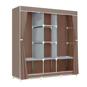 "Portable Clothes Closet Fabric Wardrobe Double Rod Storage Organizer Brown 46"""