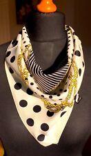 100% twill silk scarf,60cmx60cm. Striking polka dot design.Gift wrapped