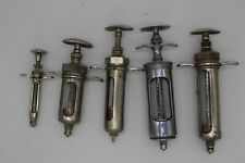 Lot 5 Becton Dickinson Franklin Cutter Metal Glass Veterinary Medical Syringes