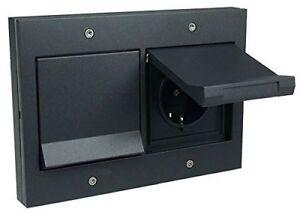 Gira TX44 Doppel-Steckdose mit Klappdeckel und Rahmen anthrazit 2x045467/021267