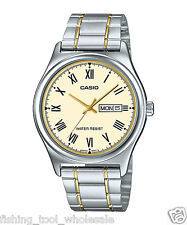 MTP-V006SG-9B Gold Casio Men's Watch Stainless Steel Band Date Day Brand-New