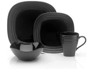 MIKASA Nantucket Swirl Square Black 4-Piece Place Setting Dinnerware Set NEW