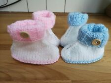 Cute Hand Knitted 3 Months blue or pink with white boy girl baby Bootees boots