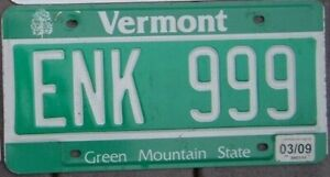 VERMONT 2009  License Plate -  Man Cave -  Bar - Garage - ENK 999  Triple 9 s