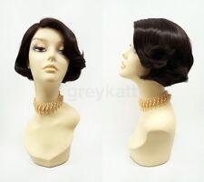 Pre-Cut Lace Front Brown Short Bob Wig Heat Resistant 20s 50s Retro Style