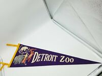 Vintage 1950s  Detroit Zoo Purple Felt Wool Pennant 27 x 9 Banner