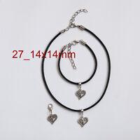 Antique Silver Charm Pendant Choker Necklace, Bracelet and  Clip on Charm Set