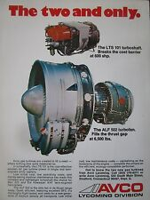 12/1974 PUB AVCO LYCOMING ALF 502 TURBOFAN LTS 101 TURBOSHAFT ORIGINAL AD