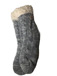 DEARFOAMS SOFT & COZY SLIPPER SOCKS NWT Light Heather Grey THICK AND WARM