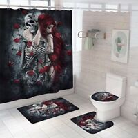 Hug Bathroom Rug Set Shower Curtain Non Slip Toilet Lid Cover Bath Mat