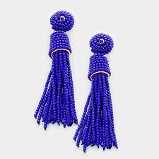 DESIGNER INSPIRED ROYAL BLUE BEADED TASSEL DROP EARRINGS