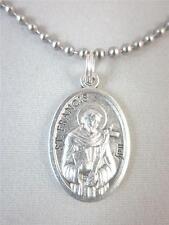 "Catholic Italian St Francis Medal Pendant Necklace 24"" Ball Chain + BONUS BOOK"