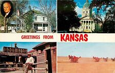 Greetings from Kansas Eisenhower Boothill agriculture equipment pm 1961 Postcard
