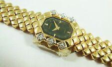 Lassale by Seiko Gold Metal Black Dial 4N20-0210 w/ Gem Sample Watch NON-WORKING