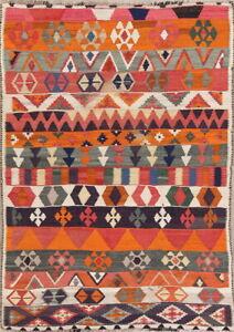 Vintage Tribal Reversible Kilim Geometric Hand-woven Wool Oriental Area Rug 5x7
