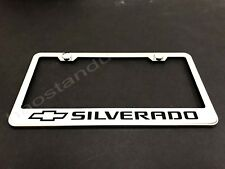 1x Silverado STAINLESS STEEL LICENSE PLATE FRAME + Screw Caps L*