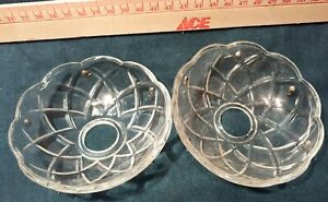 V-15  TWO Vintage Heavy CLEAR Glass Bobeche Candle Collar Wax Drip Protector