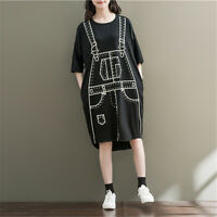 Loose Preppy Look T-shirt Dress Pullover Half Sleeve Oversize Crew Neck Girls
