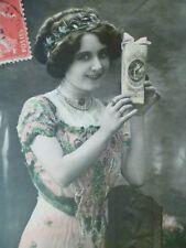 cpa femme boite à dragée bonne année postcard woman new year carte postale ak pc