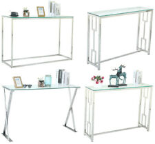 Glass Vanity Table Silver Glass Console Sofa Tables Hallway Bedroom Furniture