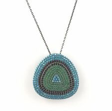 .925 Sterling Silver Womens CZ& Turquoise Evil Eye Pendant Necklace - US Sk003