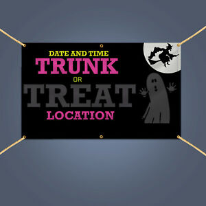 TRUNK OR TREAT Banner, 5' X 3' Outdoor Scary Halloween Party Decor PVC Sign