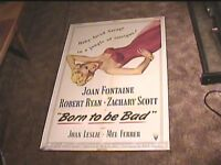 BORN TO BE BAD 1950 ORIG MOVIE POSTER JOAN FONTAINE SEXY
