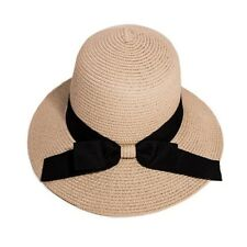 9d40651f52b Straw Cloche Hat M 57cm Ribbon Bow Beige Festival Holiday Beach Women