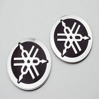 2X 40mm Oil Tank Badge Fairing Emblem 3D Decal Sticker For Yamaha Racing Motors