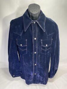 Rockabilly Blue Suede Leather Vintage Western Jacket  1970's