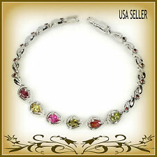 Lovely Natural Multi-color Tourmaline with Ruby Accents Sterling Silver Bracelet