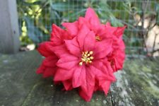 7 x RED SILK POINSETTIA FLOWERS 12cm WITH GREEN LEAVES WIRED STEM BUSH