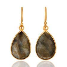 18K Gold Plated Sterling Silver Labradorite Bezel Set Drop Earrings Jewelry