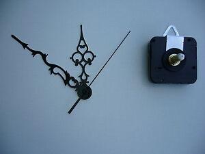 CLOCK MECHANISM QUARTZ   EXTRA LONG SPINDLE 120mm BLACK  ORNATE HANDS / FILIGREE