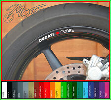 8 x DUCATI CORSE Wheel Rim Decals Stickers - Choice of Colours - monster 749 999