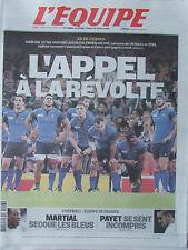 L'Equipe du 13/10/2015 - Coupe du Monde de rugby -Martial - Payet - P Dupraz