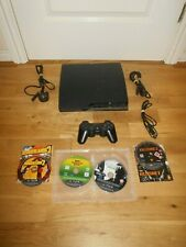SONY PS3 SLIM 250GB CONSOLE LEADS & 4 GAMES BUNDLE BLACK WIRELESS CONTROLLER