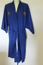 Vintage Men's Unisex Kimono Robe Smoking Jacket Royal Blue Made in Japan 1960s