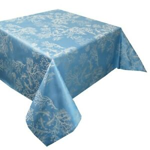 GARNIER-THIEBAUT, MILLE CORAUX (CORAL) BLUE FRENCH JACQUARD TABLECLOTHS, NEW