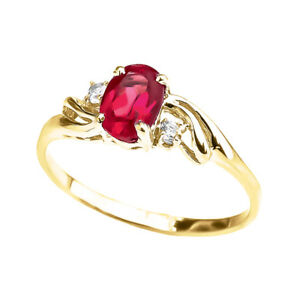 Solid 10k 14k Yellow Gold ( LCR) Ruby Oval Solitaire Proposal  Ring
