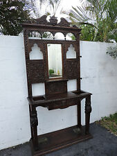 Early Victorian Heavy Hand Carved Hall Tree Umbrella Stand Coat Rack 8068