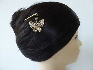 Japanese Kanzashi Hair Stick Antique-tone Metal w/Butterfly Design Hair Ornament